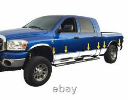 S'adapte 2002-2008 Dodge Ram Mega Cab Short Bed Rocker Panel Trim 8 Acier Inoxydable