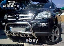 S'adapte Mercedes ML W164 Bull Bar Chrome Axle Nudge 60mm Acier Inoxydable 2006-2011
