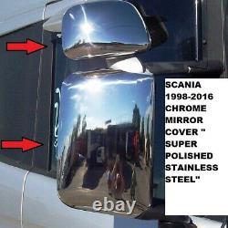 Scania 1998-2016 Chrome Miroir Couvercle '' Acier Inoxydable'' 4 Pcs