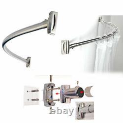 Shower Curtain Rod Rail / Chrome Stainless Steel Curved Oval Bath Tub Réglable