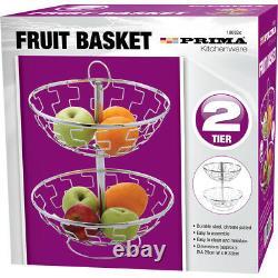 Support De Support De Support De Stockage En Acier Inoxydable De Panier De Fruit De 2 Niveaux Nouveau