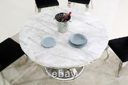 Table À Manger Circulaire En Marbre De 130 CM Avec Base Angulaire En Acier Inoxydable Chromé