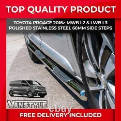 Toyota Proace 2016 L2 Mwb L3 Lwb Poli Chrome Acier Inoxydable Barre Latérale Étapes