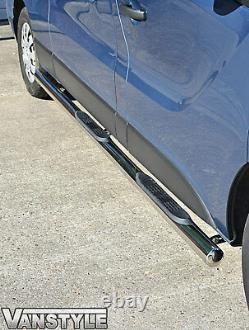 Vauxhall Vivaro 2001-2014 76mm 4 Step Lwb Barres Latérales En Acier Inoxydable Chrome Steps