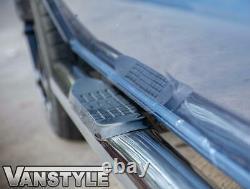 Vw T5 Transporter 03-15 Lwb 76mm Poli Chrome Barres Latérales En Acier Inoxydable Étapes