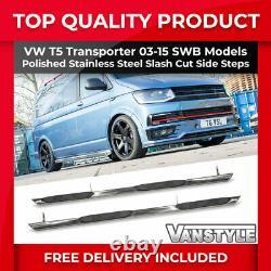Vw T5 Transporteur 03-15 Swb 76mm Poli Chrome Barres Latérales En Acier Inoxydable Étapes